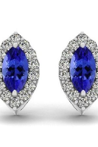 925 Silver Earring Genuine Natural Tanzanite 2.5x5mm Masrquise Cut with White Topaz Round Gemstone – Tanznaite Eariiing