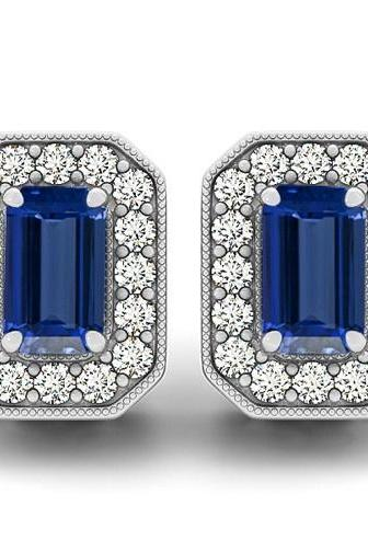 Silver Earring Genuine Natural Tanzanite 6x4mm Octagon Cut with White Topaz Round Gemstone – Tanznaite Eariiing