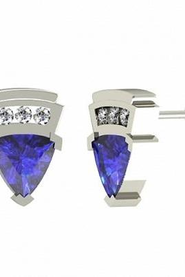 925 Sterling Silver Earring Genuine Natural Tanzanite 4.5mm Trillion Cut with White Topaz Round Gemstone – Tanznaite Eariiing