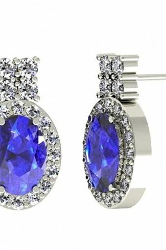 925 Sterling Silver Earring Genuine Natural Tanzanite 7x5mm Oval Cut with White Topaz Round Gemstone – Tanznaite Eariiing