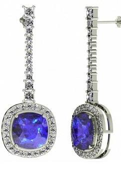 925 Sterling Silver Earring Genuine Natural Tanzanite 6mm Cushion Cut with White Topaz Round Gemstone – Tanznaite Eariiing