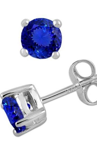 925 Sterling Silver Stud Earring Genuine Natural Tanzanite 7mm Round Cut AAA Color Tanznaite Gemstone Eariiing