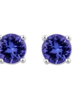 925 Sterling Silver Stud Earring Genuine Natural Tanzanite 4.5mm Round Cut AA Color Tanznaite Gemstone Eariiing