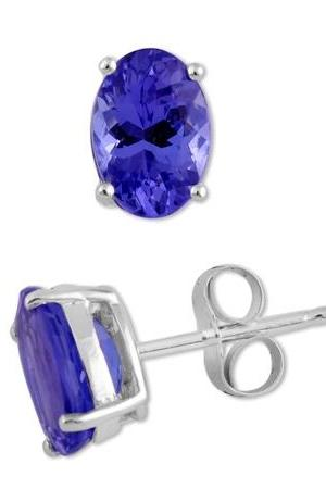 925 Silver Stud Earring Genuine Natural Tanzanite 6x8mm Oval Cut AAA Color Tanznaite Gemstone Eariiing