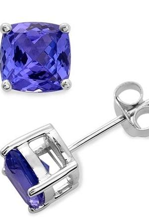 Sterling Silver Stud Earring Genuine Natural Tanzanite 6x6mm Cushion Cut AAA Color Tanznaite Gemstone Eariiing