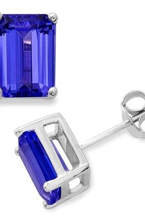 925 Silver Stud Earring Genuine Natural Tanzanite 6x4mm Octagon Cut AAA Color Tanznaite Gemstone Eariiing
