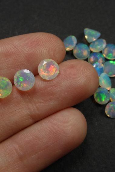 Natural Ethiopian Opal Faceted Cut 3mm Round 10 Pieces Lot Multi Fire Opal Loose Gemstone Wholesale Lot