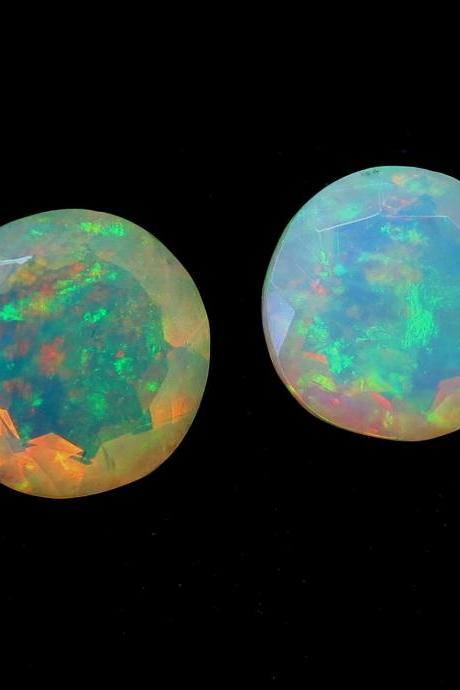 Natural Ethiopian Opal Faceted Cut 8mm Round 2 Pieces Multi Fire Opal Loose Gemstone Wholesale Lot