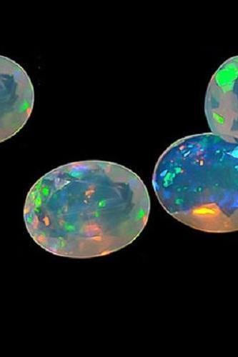 Natural Ethiopian Opal Faceted Cut 8x6mm Oval 5 Pieces Lot Multi Fire Opal Loose Gemstone Wholesale Lot