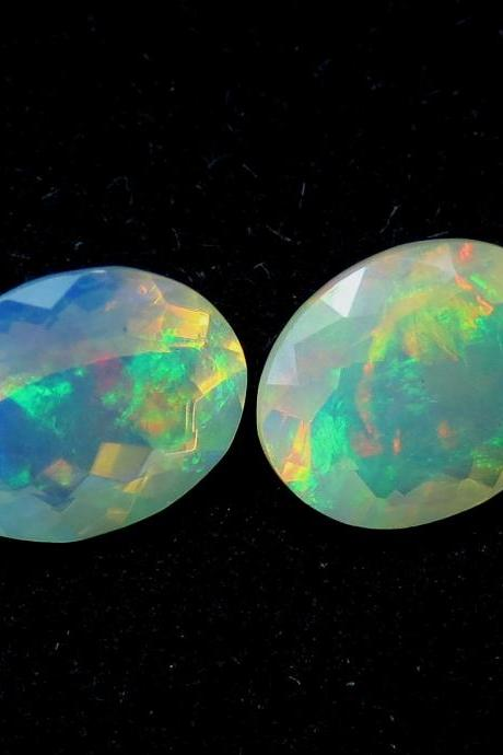 Natural Ethiopian Opal Faceted Cut 9x7mm Oval 2 Pieces Multi Fire Opal Loose Gemstone Wholesale Lot