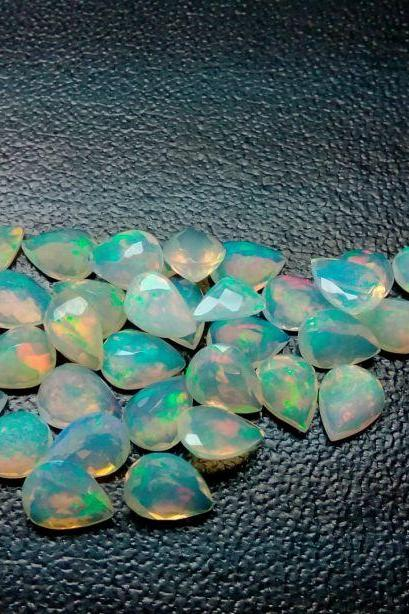 Natural Ethiopian Opal Faceted Cut 7x5mm Pear 25 Pieces Lot Multi Fire Opal Loose Gemstone Wholesale Lot