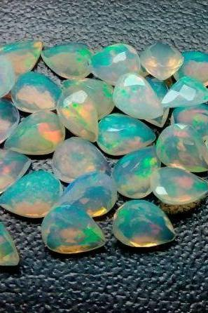 Natural Ethiopian Opal Faceted Cut 7x5mm Pear 50 Pieces Lot Multi Fire Opal Loose Gemstone Wholesale Lot