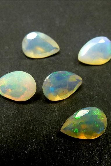 Natural Ethiopian Opal Faceted Cut 9x7mm Pear 5 Pieces Lot Multi Fire Opal Loose Gemstone Wholesale Lot