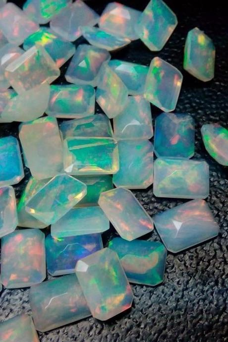 Natural Ethiopian Opal Faceted Cut 6x8mm Octagon 5 Pieces Lot Multi Fire Opal Loose Gemstone Wholesale Lot