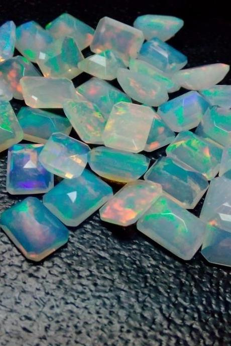 Natural Ethiopian Opal Faceted Cut 6x8mm Octagon 25 Pieces Lot Multi Fire Opal Loose Gemstone Wholesale Lot