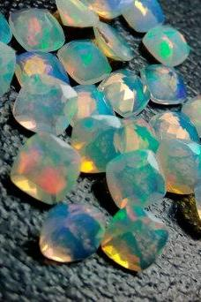 Natural Ethiopian Opal Faceted Cut 6mm Cushion 25 Pieces Lot Multi Fire Opal Loose Gemstone Wholesale Lot