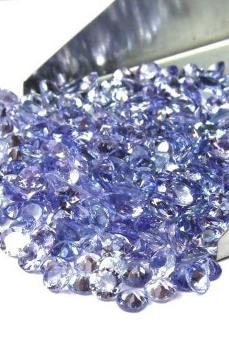 Natural Tanzanite 2mm 10 Pieces Lot Faceted Cut Round Top Quality A Color - Loose Gemstone