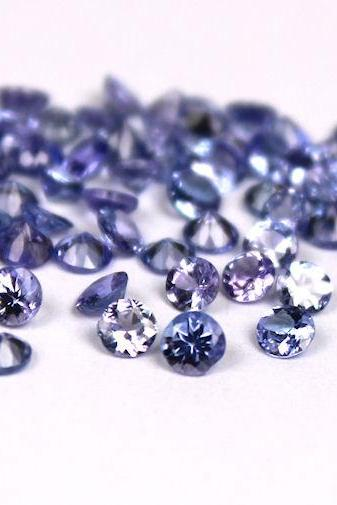 Natural Tanzanite 4.5mm 100 Pieces Lot Faceted Cut Round Top Quality A Color - Loose Gemstone