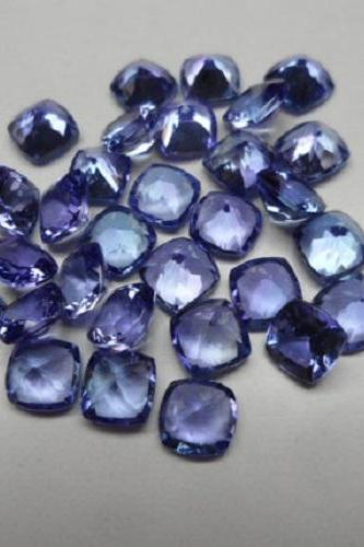 Natural Tanzanite 6mm 5 Pieces Lot Faceted Cut Cushion Top Quality AA Color - Loose Gemstone
