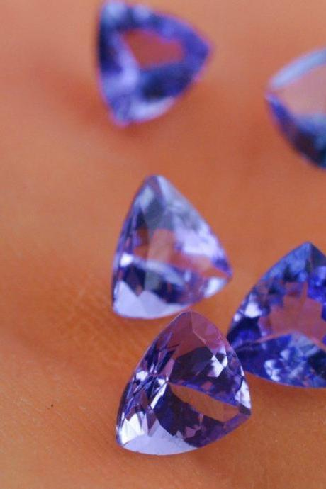 Natural Tanzanite 4mm 5 Pieces Lot Faceted Cut Trillion Top Quality AA Color - Loose Gemstone