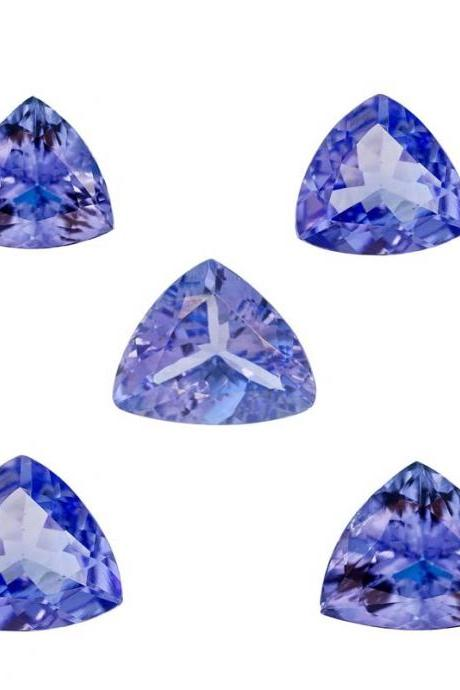 Natural Tanzanite 5mm 5 Pieces Lot Faceted Cut Trillion Top Quality AA Color - Loose Gemstone