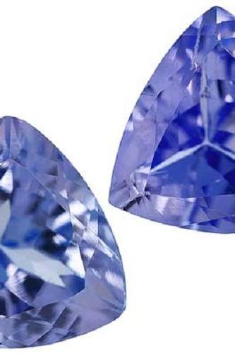 Natural Tanzanite 8mm 2 Pieces Faceted Cut Trillion Top Quality AA Color - Loose Gemstone