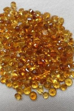 Natural Citrine - 3mm 200 Pieces Lot Calibrated Size Faceted Cut Round Yellow Color - Natural Loose Gemstone