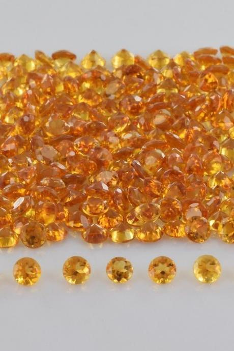 Natural Citrine - 4mm 200 Pieces Lot Calibrated Size Faceted Cut Round Yellow Color - Natural Loose Gemstone