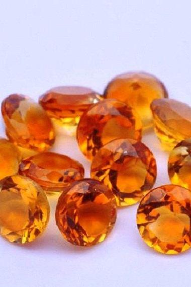 Natural Citrine - 7mm 2 Pieces Calibrated Size Faceted Cut Round Yellow Color - Natural Loose Gemstone