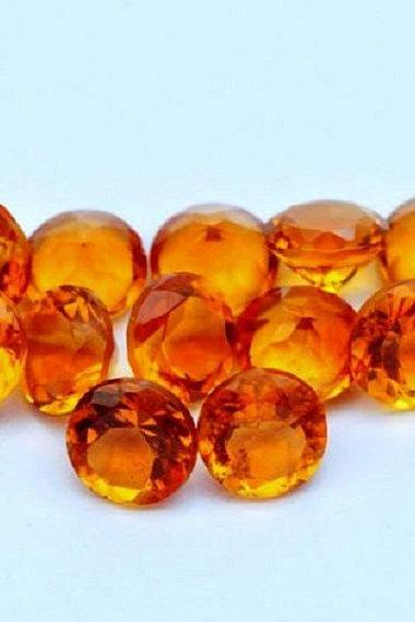 Natural Citrine - 8mm 2 Pieces Calibrated Size Faceted Cut Round Yellow Color - Natural Loose Gemstone