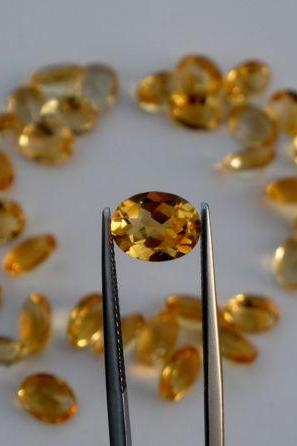 Natural Citrine - 6x8mm 50 Pieces Lot Calibrated Size Faceted Cut Oval Yellow Color - Natural Loose Gemstone