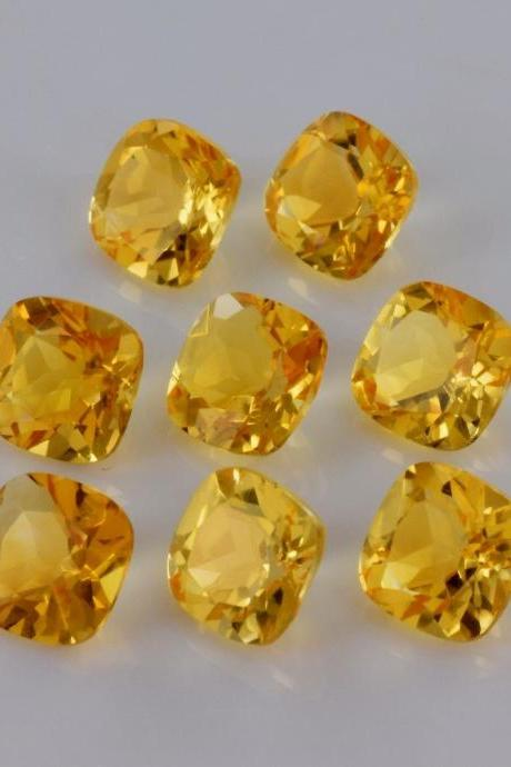 Natural Citrine - 4mm 25 Pieces Lot Calibrated Size Faceted Cut Cushion Yellow Color - Natural Loose Gemstone