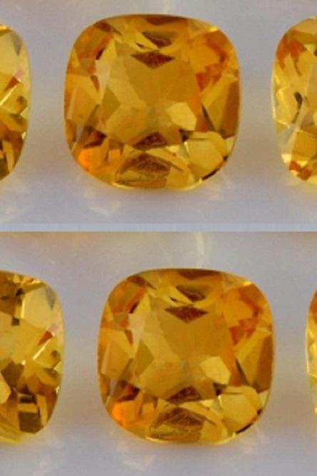 Natural Citrine - 8mm 10 Pieces Lot Calibrated Size Faceted Cut Cushion Yellow Color - Natural Loose Gemstone