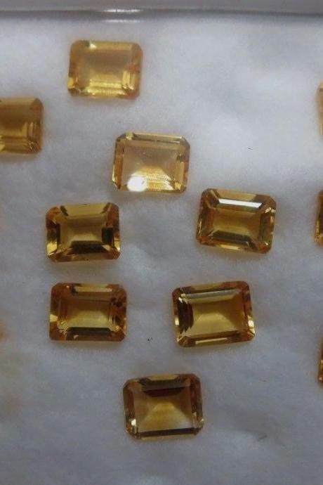 Natural Citrine - 6x4mm 100 Pieces Lot Calibrated Size Faceted Cut Octagon Yellow Color - Natural Loose Gemstone