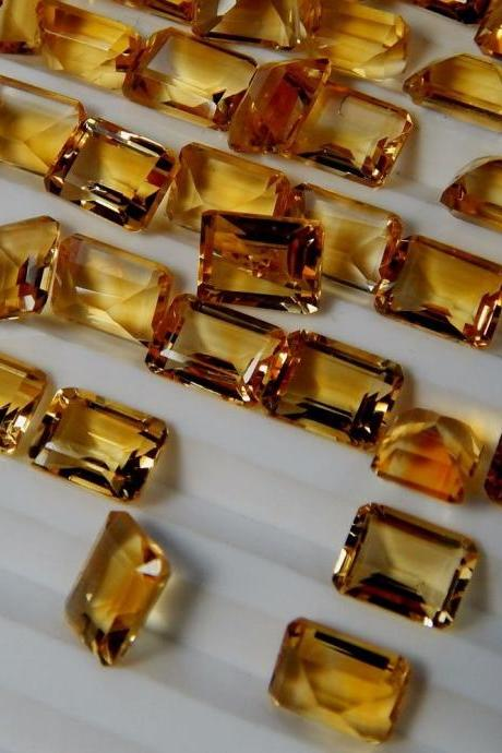 Natural Citrine - 8x6mm 25 Pieces Lot Calibrated Size Faceted Cut Octagon Yellow Color - Natural Loose Gemstone