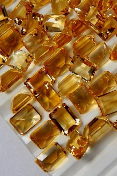 Natural Citrine - 8x10mm 25 Pieces Lot Calibrated Size Faceted Cut Octagon Yellow Color - Natural Loose Gemstone
