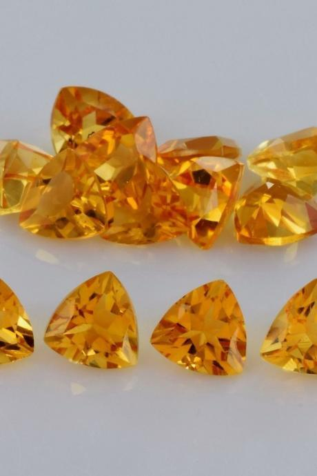 Natural Citrine - 4mm 10 Pieces Lot Calibrated Size Faceted Cut Trillion Yellow Color - Natural Loose Gemstone