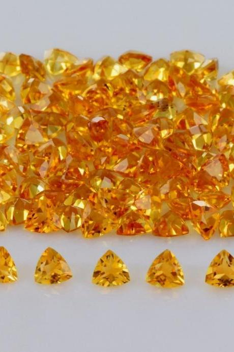Natural Citrine - 4mm 100 Pieces Lot Calibrated Size Faceted Cut Trillion Yellow Color - Natural Loose Gemstone
