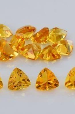 Natural Citrine - 5mm 50 Pieces Lot Calibrated Size Faceted Cut Trillion Yellow Color - Natural Loose Gemstone