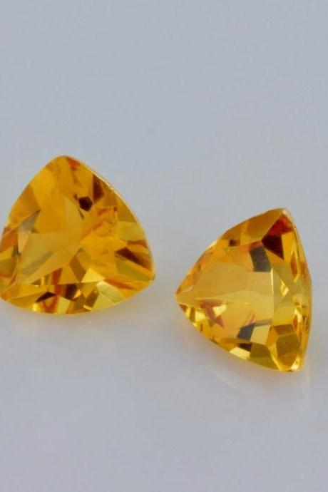 Natural Citrine - 7mm 25 Pieces Lot Calibrated Size Faceted Cut Trillion Yellow Color - Natural Loose Gemstone