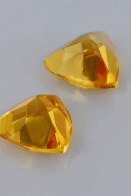 Natural Citrine - 8mm 2 Pieces Calibrated Size Faceted Cut Trillion Yellow Color - Natural Loose Gemstone