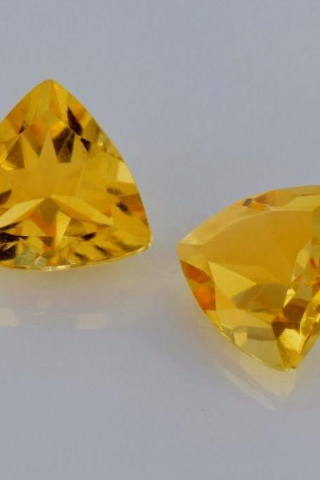 Natural Citrine - 8mm 5 Pieces Lot Calibrated Size Faceted Cut Trillion Yellow Color - Natural Loose Gemstone