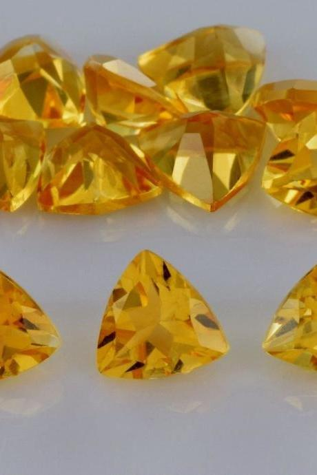 Natural Citrine - 8mm 25 Pieces Lot Calibrated Size Faceted Cut Trillion Yellow Color - Natural Loose Gemstone