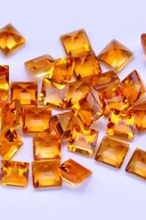 Natural Citrine - 7mm 50 Pieces Lot Calibrated Size Faceted Cut Square Yellow Color - Natural Loose Gemstone