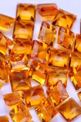 Natural Citrine - 8mm 10 Pieces Lot Calibrated Size Faceted Cut Square Yellow Color - Natural Loose Gemstone