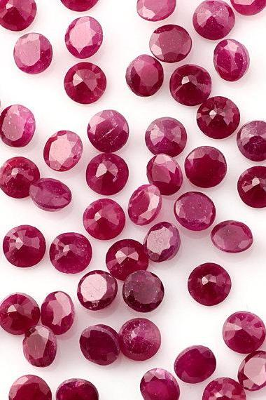Natural Ruby 3mm 50 Pieces Lot Faceted Cut Round Red Pink Color Top Quality Loose Gemstone