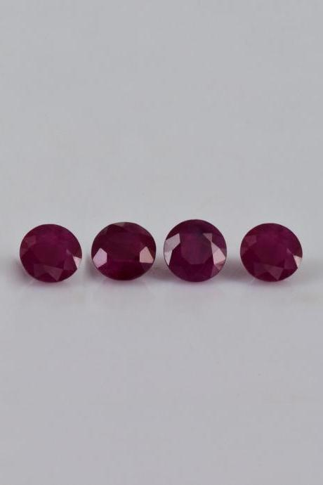 Natural Ruby 4mm 10 Pieces Lot Faceted Cut Round Red Pink Color Top Quality Loose Gemstone