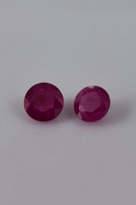 Natural Ruby 5mm 2 Pieces Faceted Cut Round Red Pink Color Top Quality Loose Gemstone