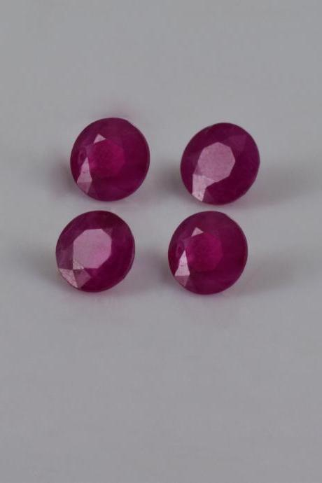 Natural Ruby 6mm 25 Pieces Lot Faceted Cut Round Red Pink Color Top Quality Loose Gemstone