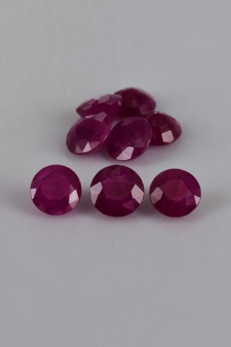 Natural Ruby 6mm 50 Pieces Lot Faceted Cut Round Red Pink Color Top Quality Loose Gemstone